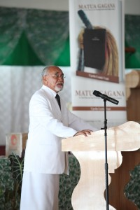 Prof Nokise launching Dr Vaai's book.